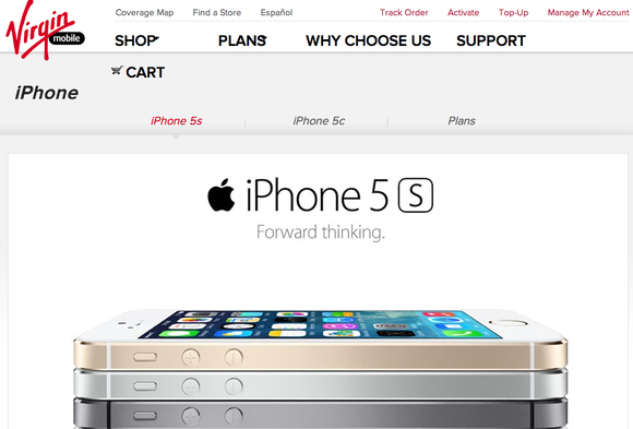 Virgin Mobile website for iPHone 5s